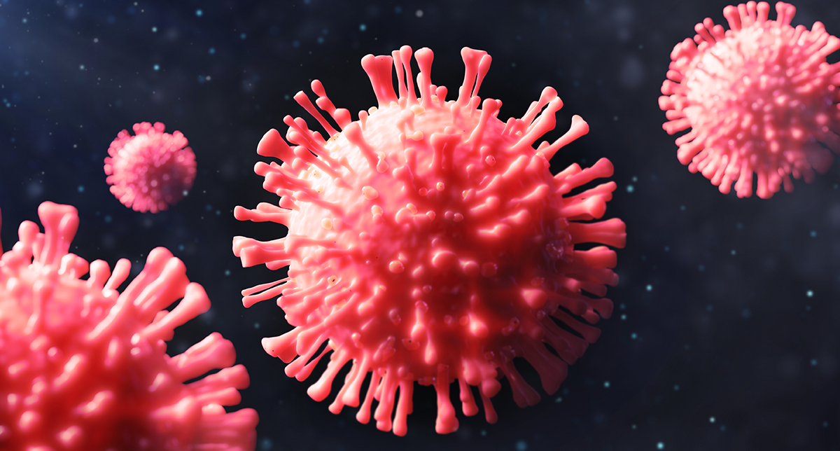 Computer rendered image of the SARS-CoV-2 virus; more widely known as the Novel Coronavirus